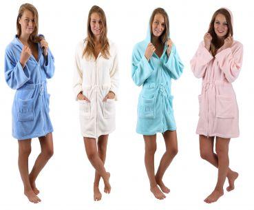 Betz Women Bathrobe RELAX Short with Hood and Zipper 100% Microfiber Sizes   XS - L Colours  ... fd938c995