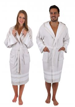 Betz bath robe MALTA dressing gown for Ladies and Men with hood Colour  beige-white f9ee18f2e