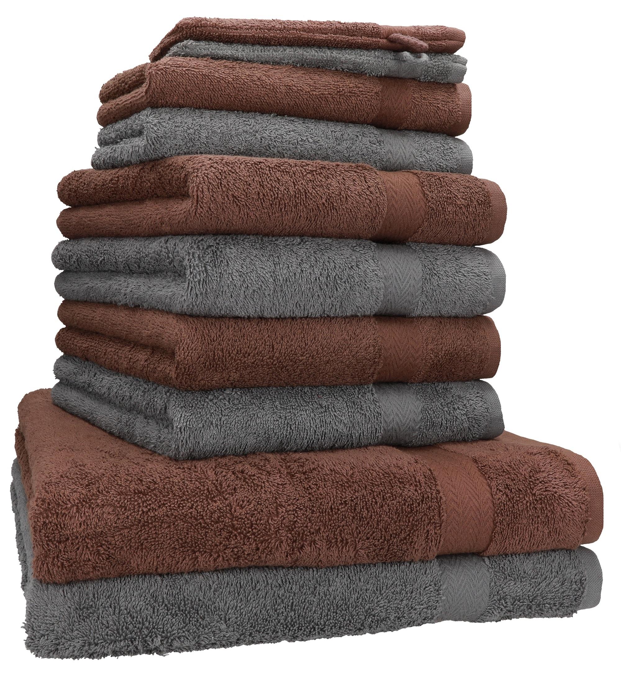 Noisette Betz Lot de 10 Serviettes Set de 2 Serviettes de Bain 4 Serviettes de Toilette 2 Serviettes dinvit/é et 2 Gants de Toilette 100/% Coton Premium Couleur Vieux Rose