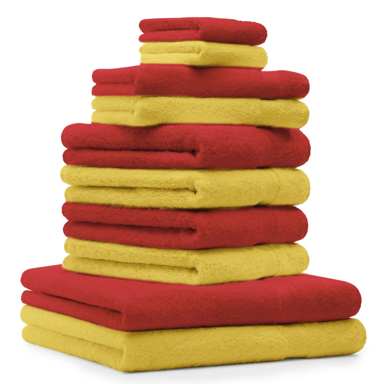 Betz 10 Lavette salvietta Asciugamano per Il Bidet Premium 100/% Cotone Misure 30 x 30 cm Colore Rosso Rubino e Sabbia