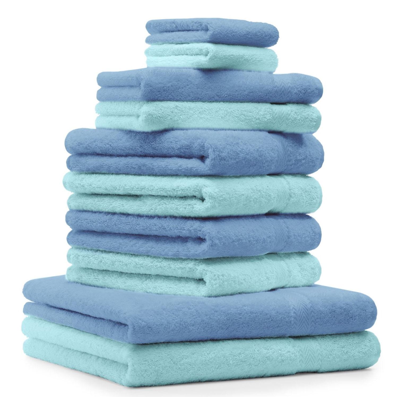 100/% algod/ón egipcio para la cara del ba/ño SeventhStitch Juego de toallas de ba/ño de lujo de 10 piezas azul marino