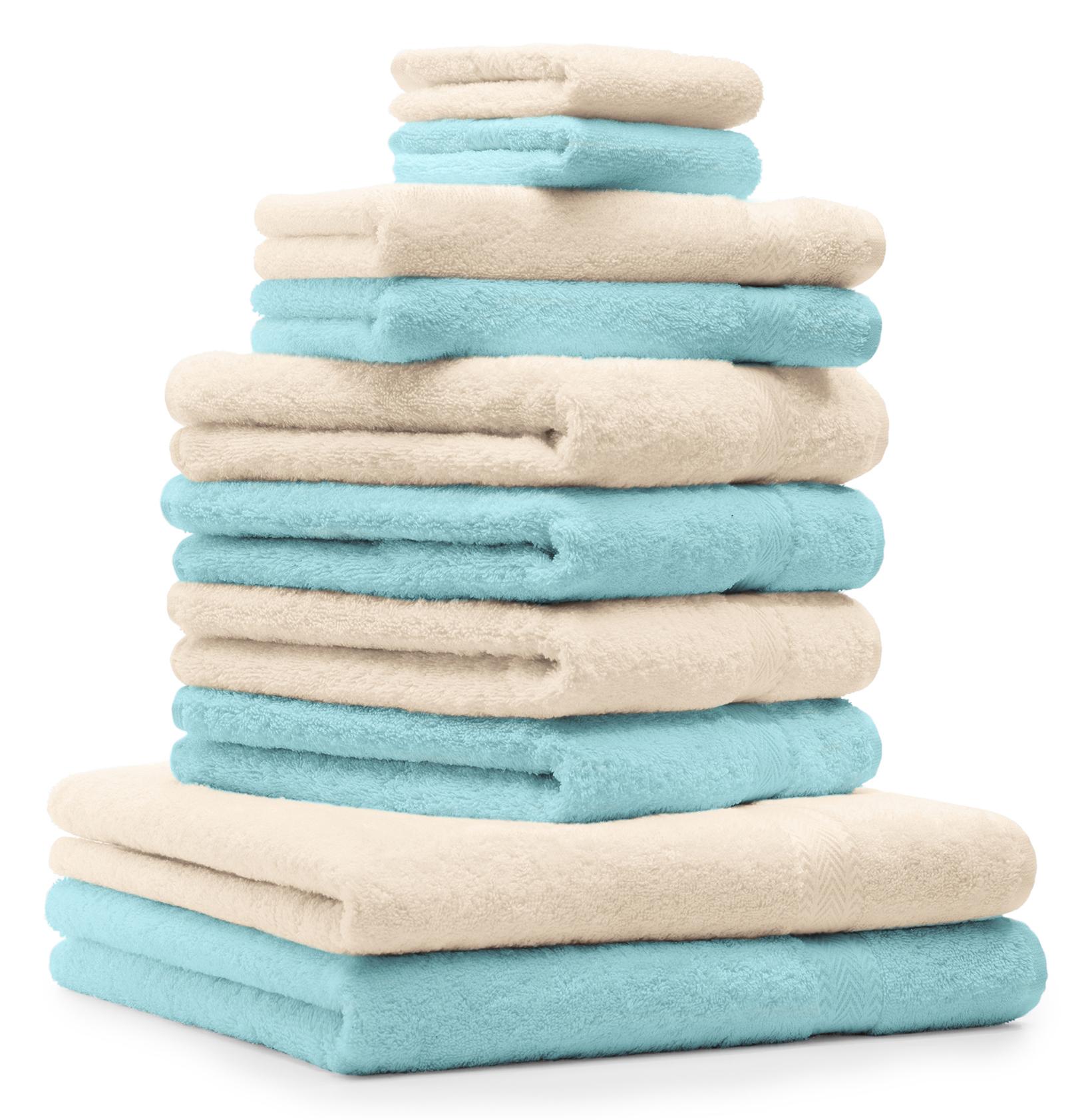 Betz Set di 4 Asciugamani da Doccia 70 x 140 Premium 100/% Cotone Colore Beige