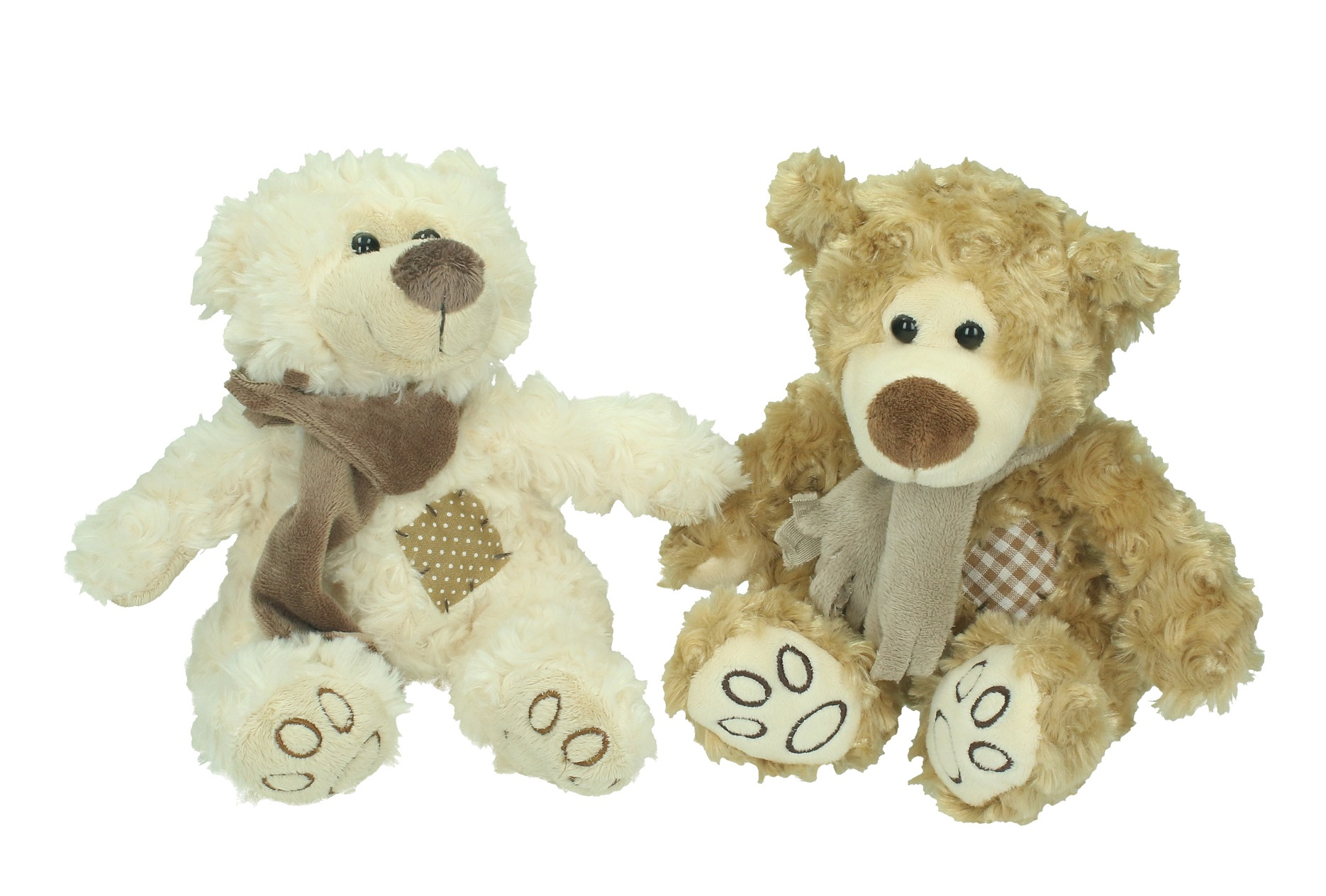 Betz animal teddy 2 pcs stuffed toys bears in brown and beige