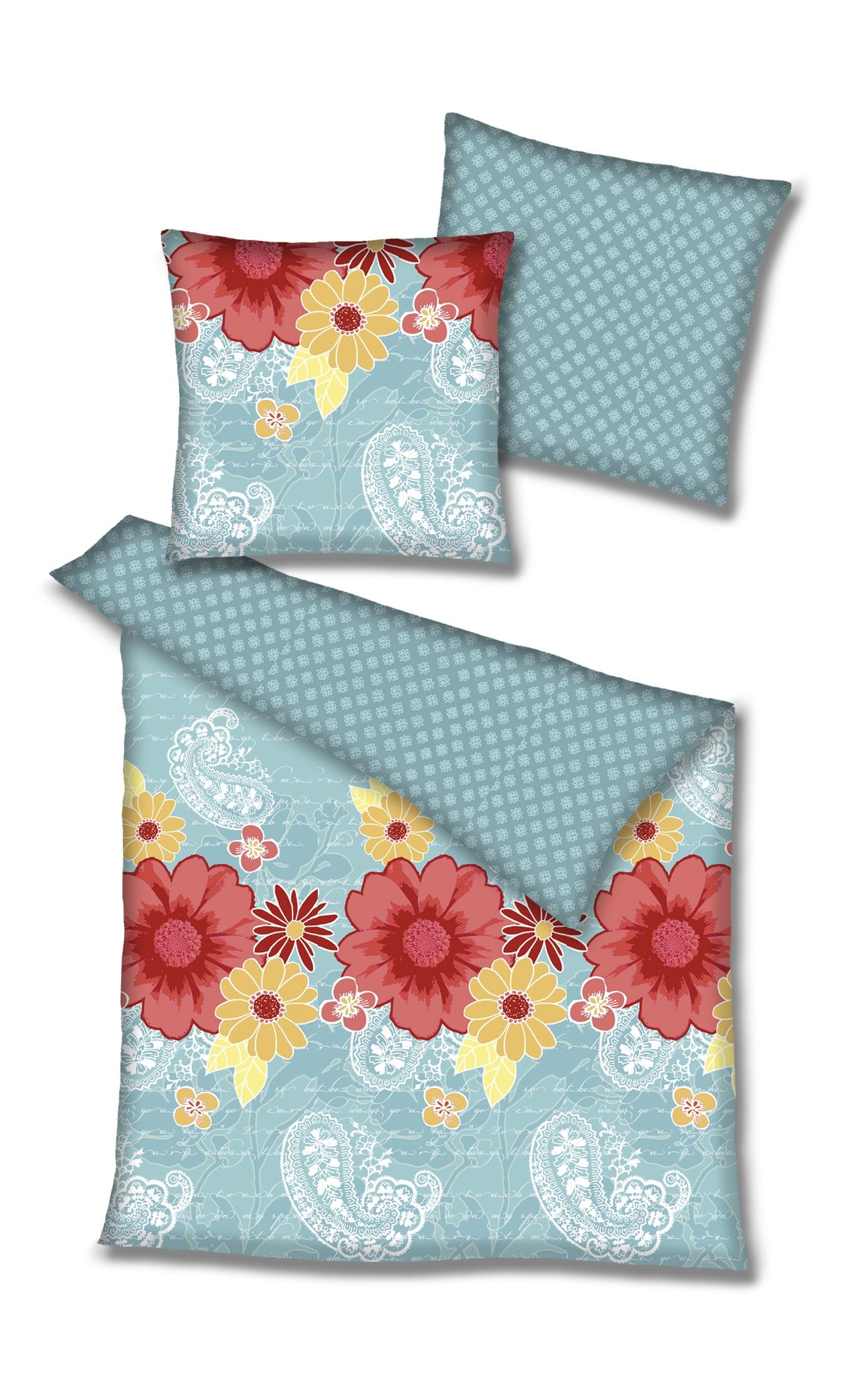 dee1f2d944 Renforce Biancheria da letto double-face, il motivo floreale, colore:  azzurro, 100% cotone, misure: 135x200 ...