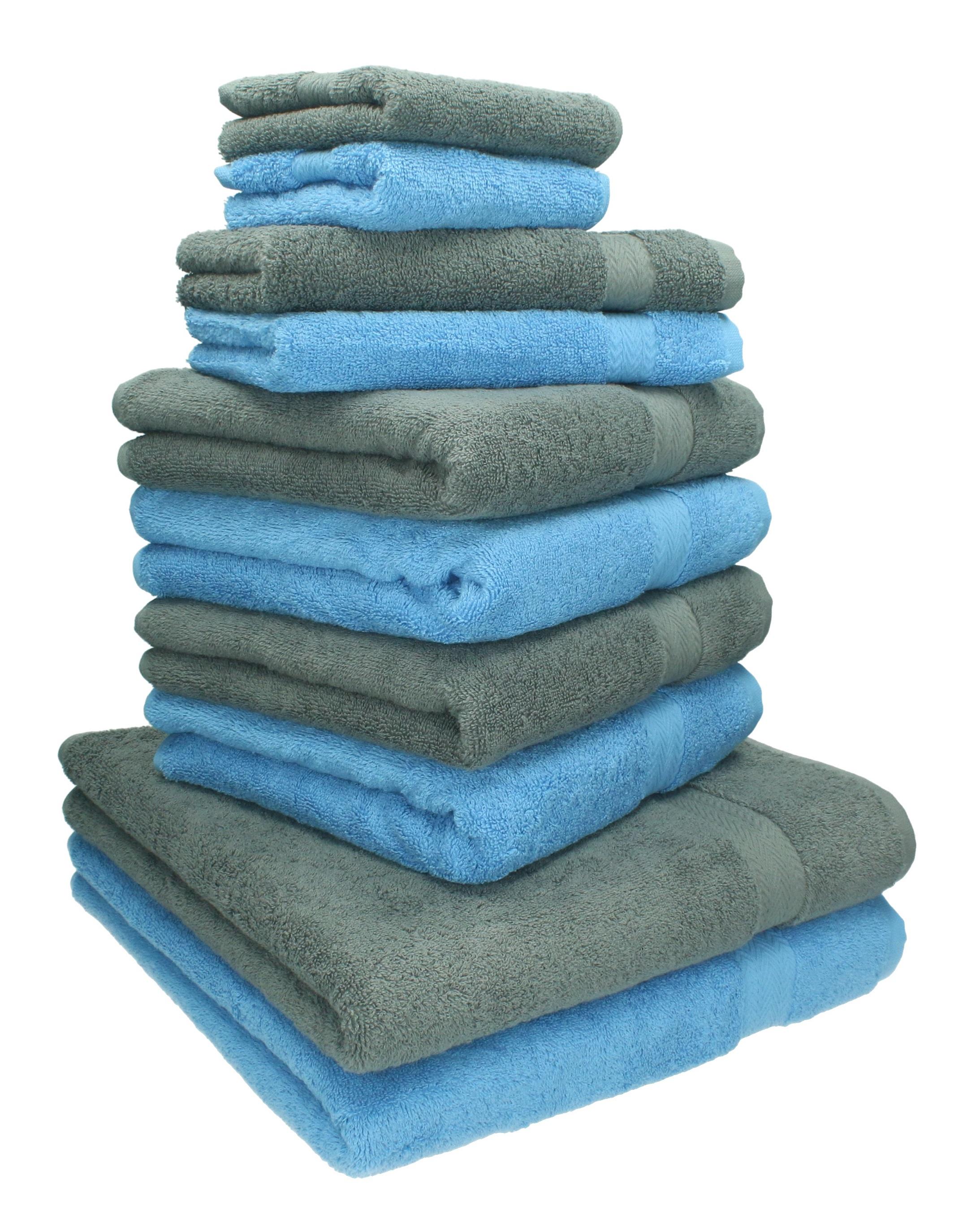 10 Piece Towel Set CLASSIC 100% Cotton 2 Face Cloths 2 Guest Towels ...