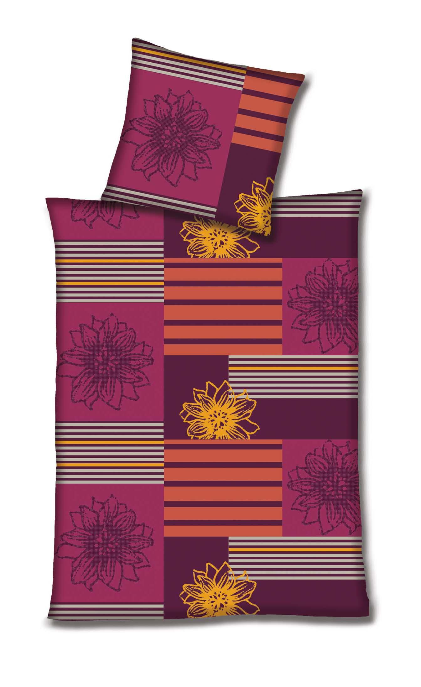 Betz 2 Tlg Mikrofaser Fleece Bettwäsche Garnitur Blumen Streifen