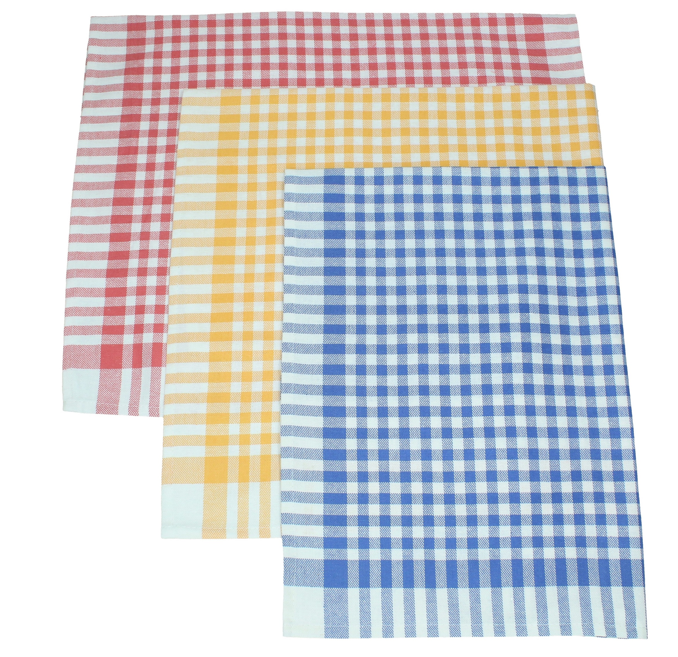 3 Piece Set Tea Towels Squares colour yellow blue and red size