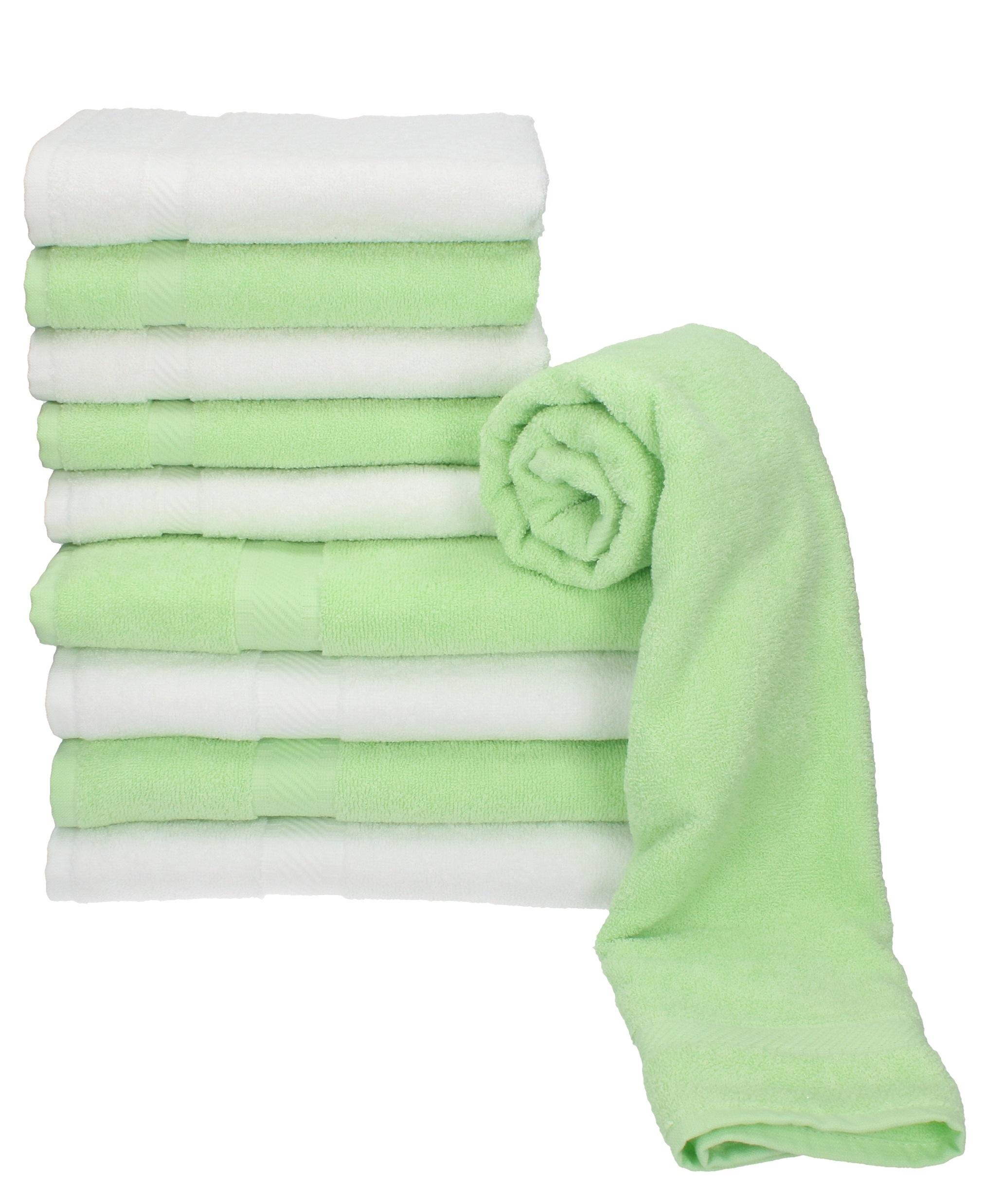 Piece Hand Bath Towel Set PALERMO colour: white & green size: 50x100 ...