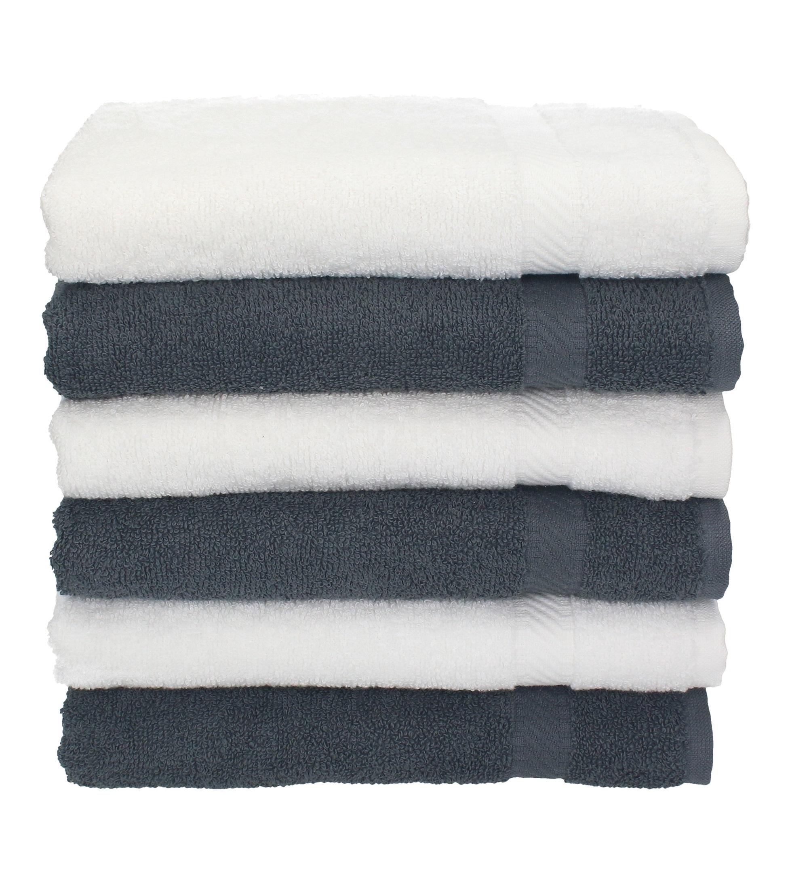 betz 6 st ck handt cher palermo 100 baumwolle handtuch set farbe wei und anthrazit. Black Bedroom Furniture Sets. Home Design Ideas