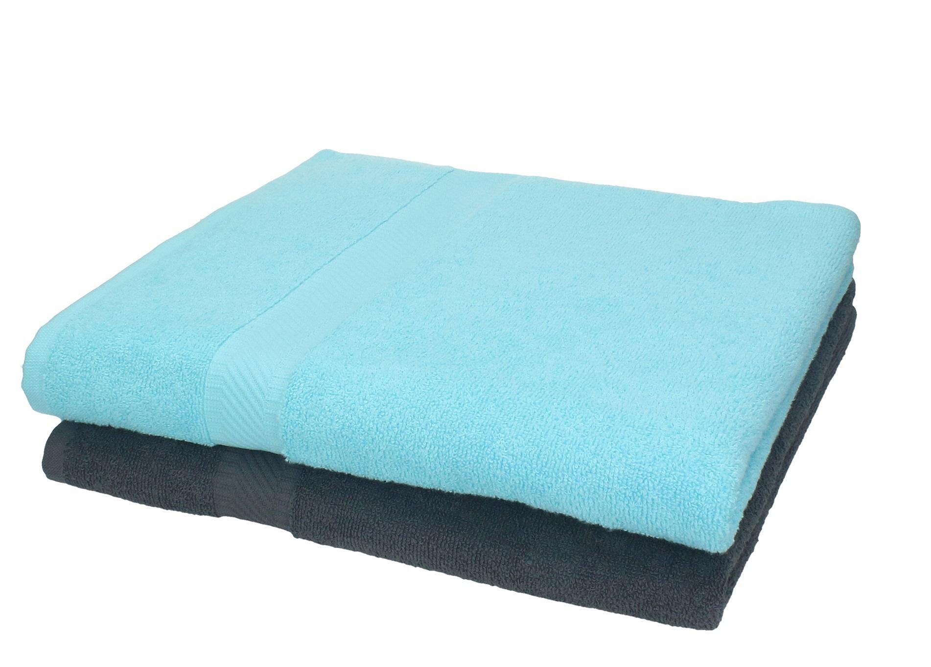 Betz Lot de 4 serviettes Palermo taille 70x140cm couleur turquoise /& anthracite