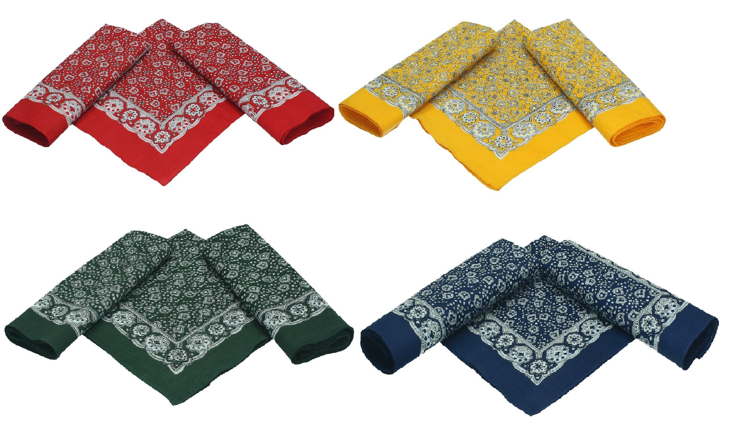 Lot de 3 bandanas classiques à motif paisley 55 x 55 cm en 100% coton,  couleur  rouge 60141a20548