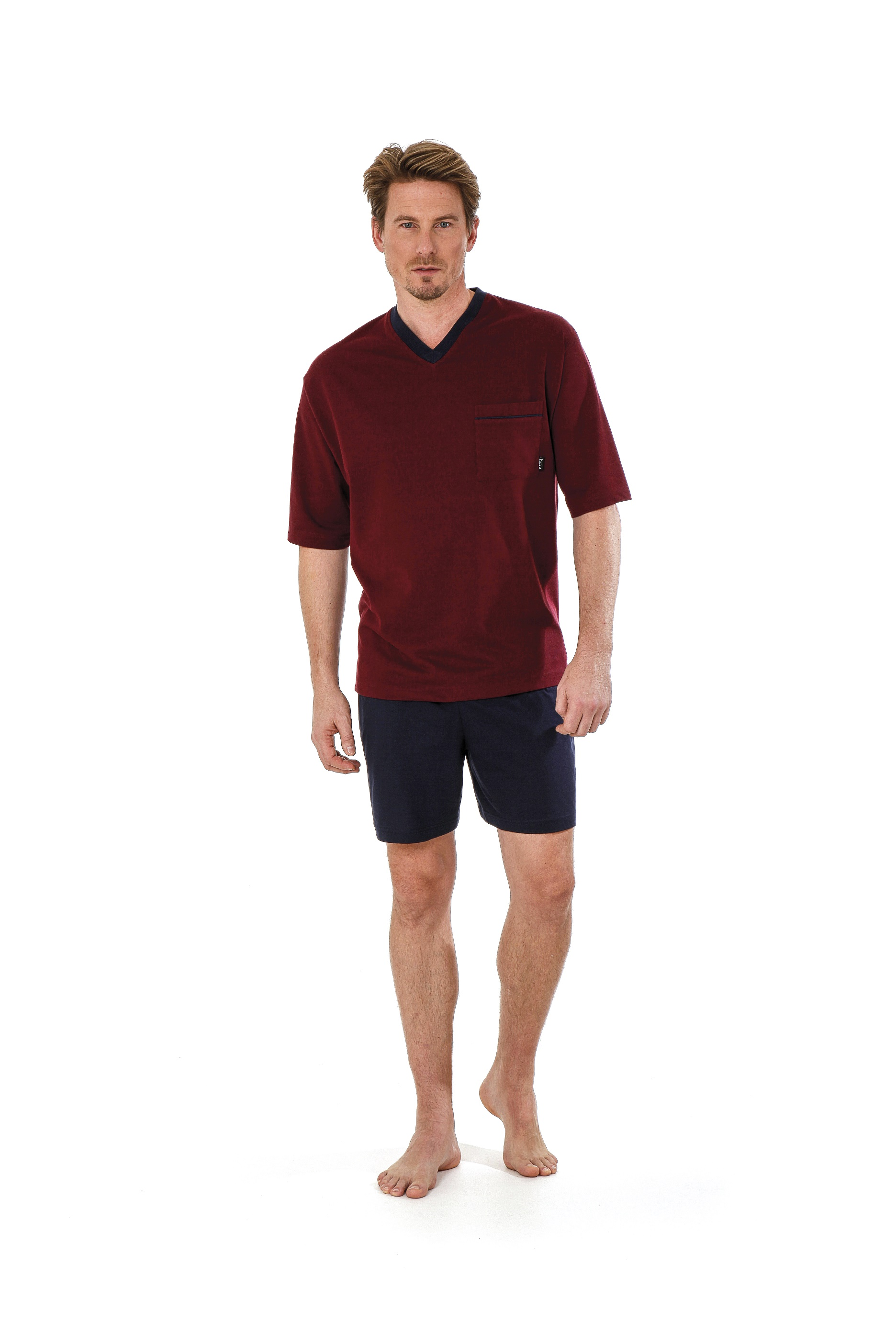 115ad81418 Betz 2 teiliger Herren Shorty Schlafanzug Pyjama kurz Farbe: bordeaux-rot  Größen: 48-56