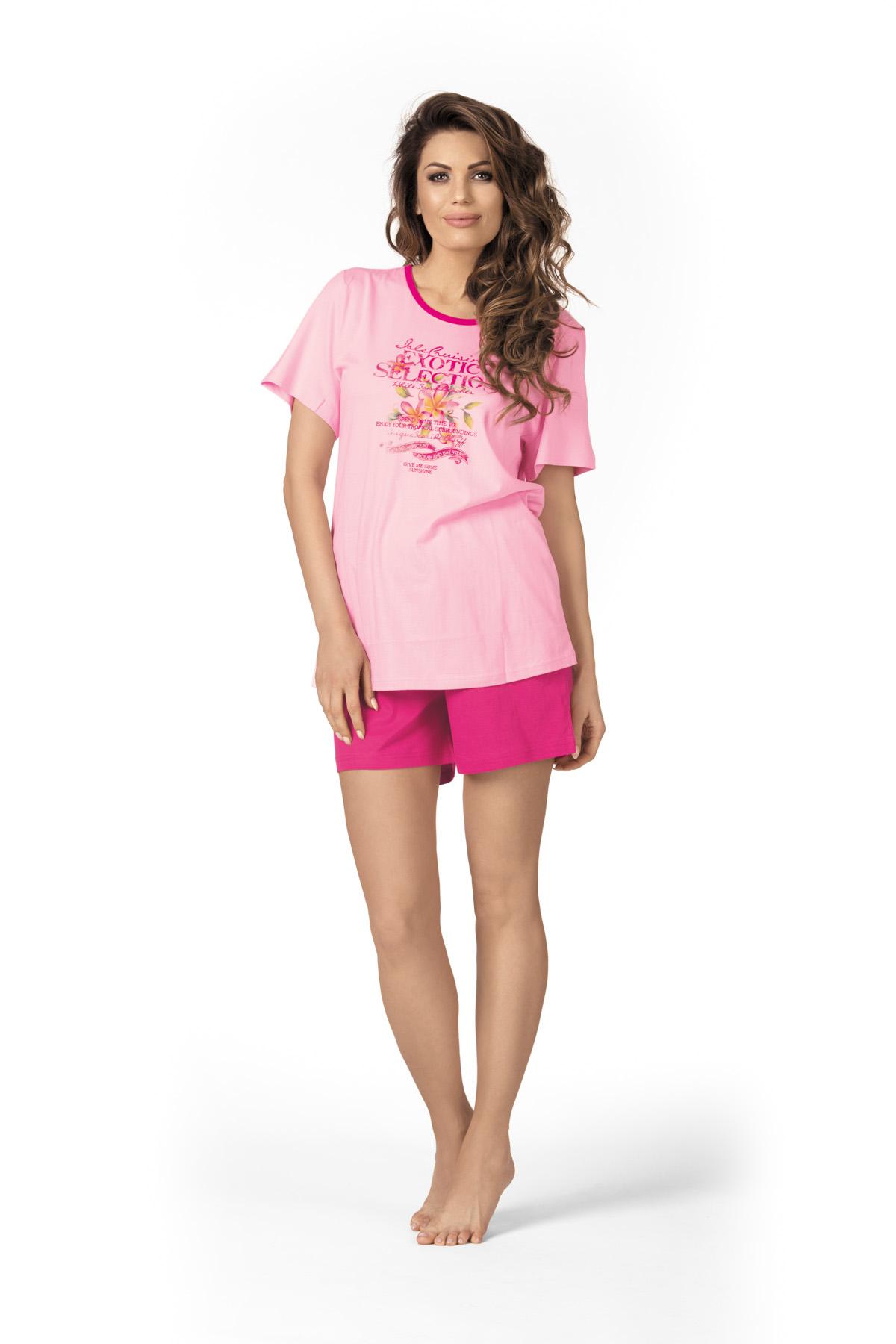 damen schlafanzug kurz pink und rosa mit aufdruck. Black Bedroom Furniture Sets. Home Design Ideas