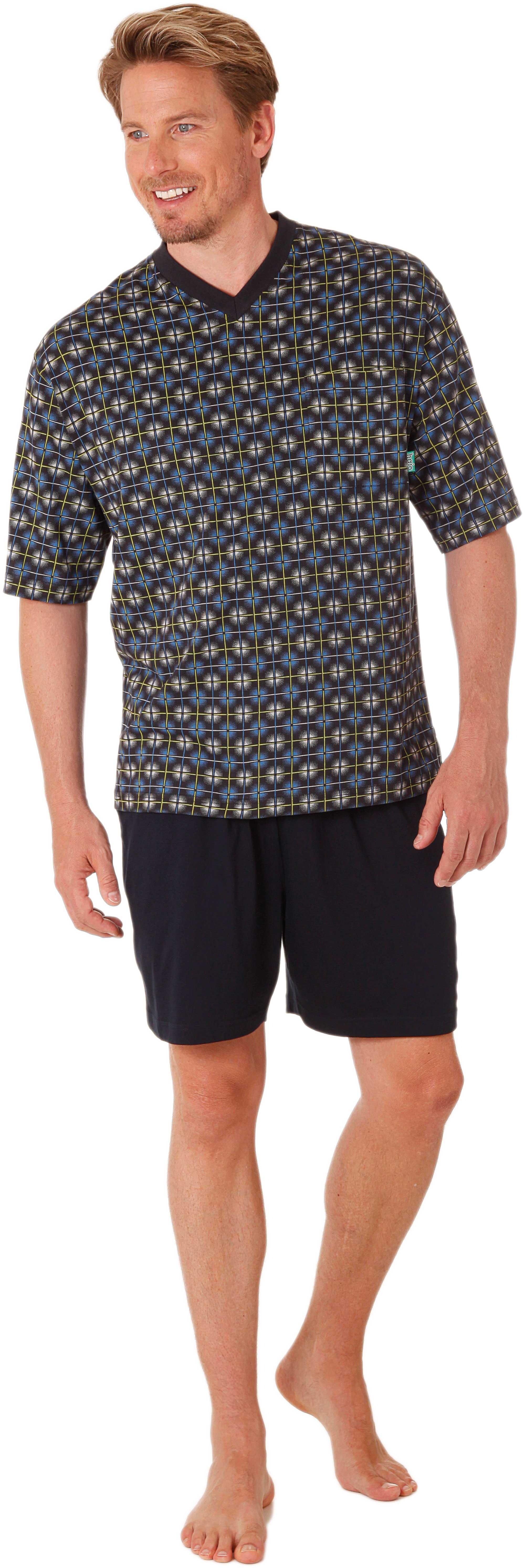 pyjama pour homme court 100 coton couleur bleu marine dans les tailles 48 58 de hajo. Black Bedroom Furniture Sets. Home Design Ideas
