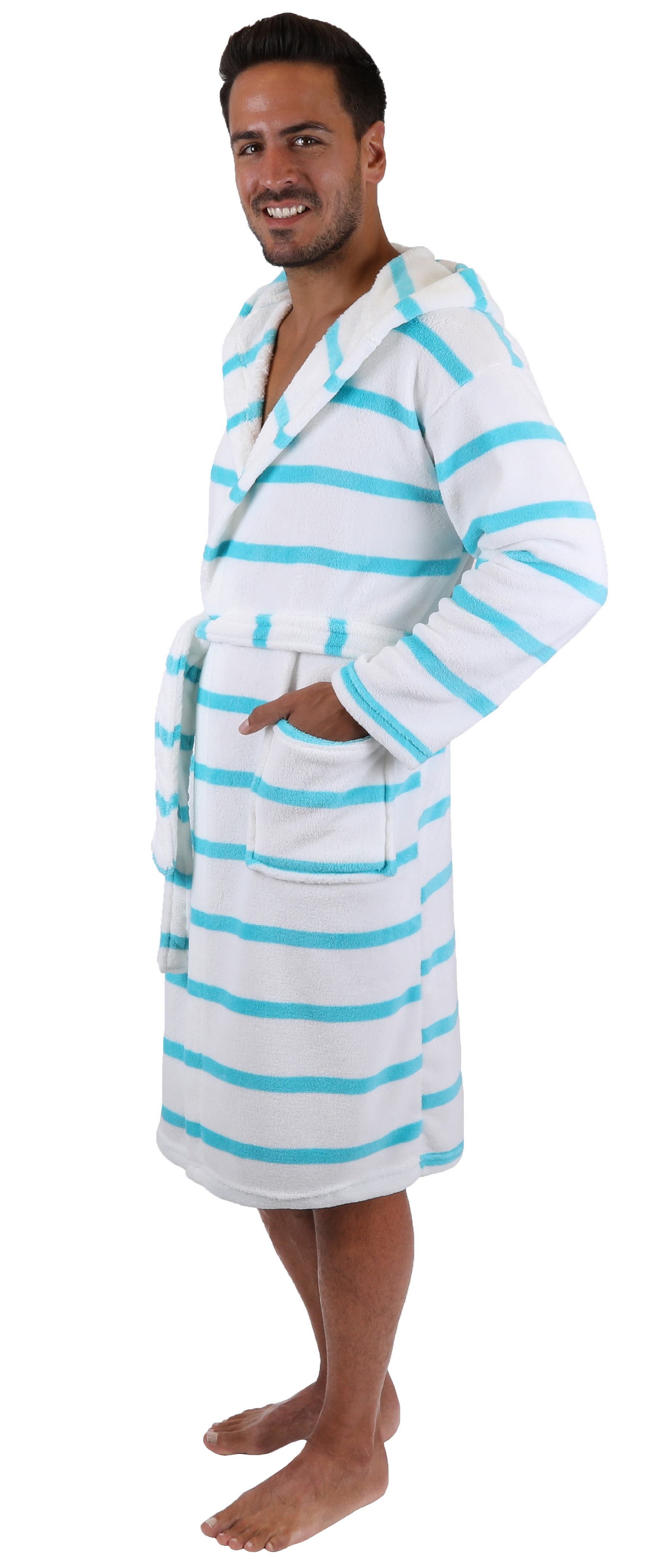 Betz bath robe MALLORCA dressing gown for Ladies and Men with hood colour  white-turquoise 3166c95ba