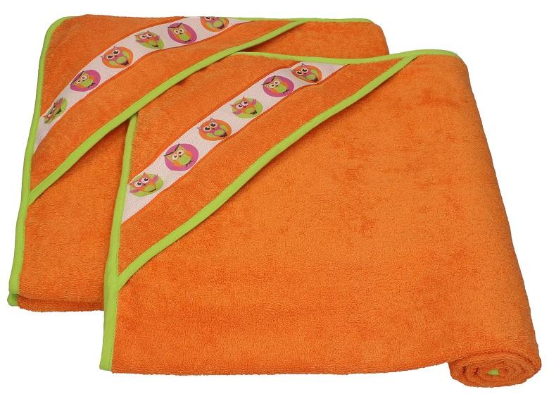 Kinderbadetücher 2er set kinder badetücher mit kapuze eulen farbe orange 90x90 cm