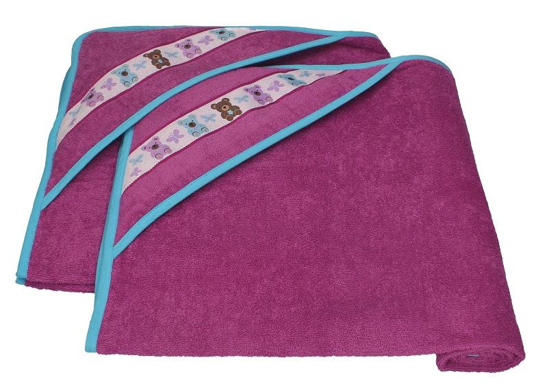 Kinderbadetücher 2er set kinder badetücher mit kapuze teddys farbe rotviolett 90x90