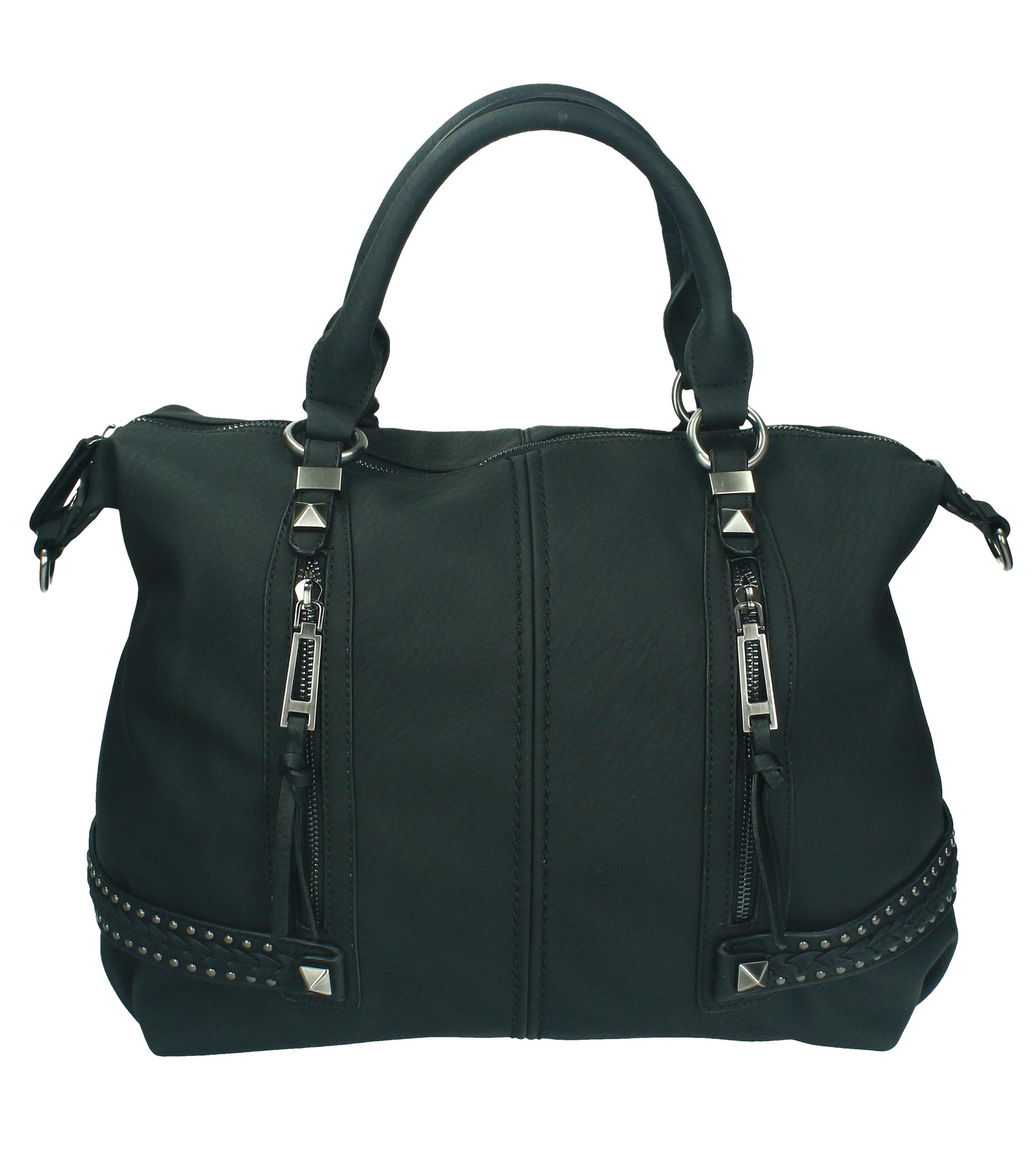 Betz sac à main pour femme MILANO 3 sac à bandoulière avec fermeture éclair et deux anses couleur noir bQ3UkifL
