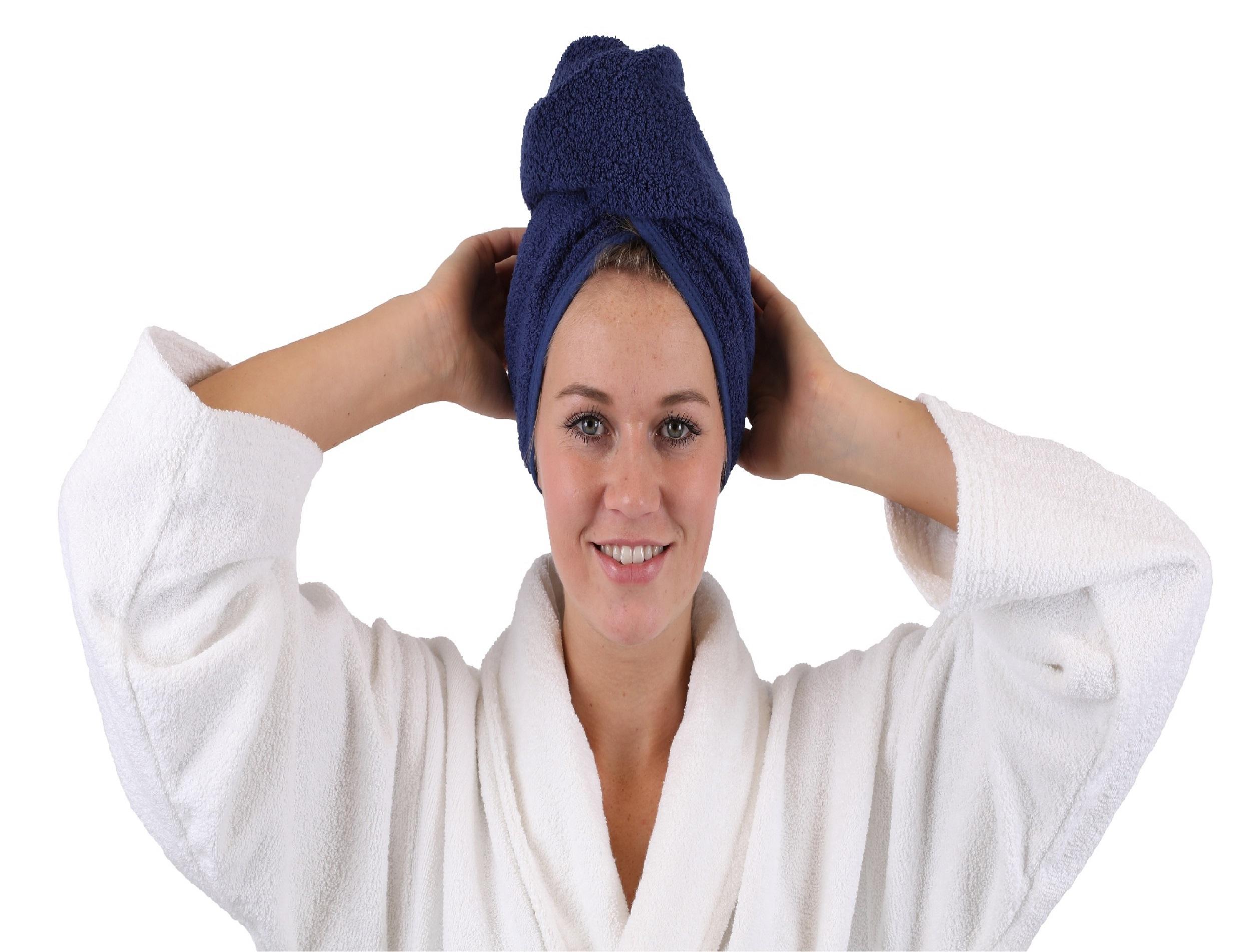 Betz Pack of 2 Turban Towels Hairturban Terry Cloth 100/% Cotton Colour cream