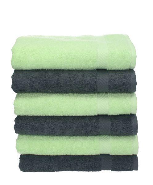 betz 6 st ck handt cher palermo 100 baumwolle handtuch set farbe anthrazit und gr n. Black Bedroom Furniture Sets. Home Design Ideas